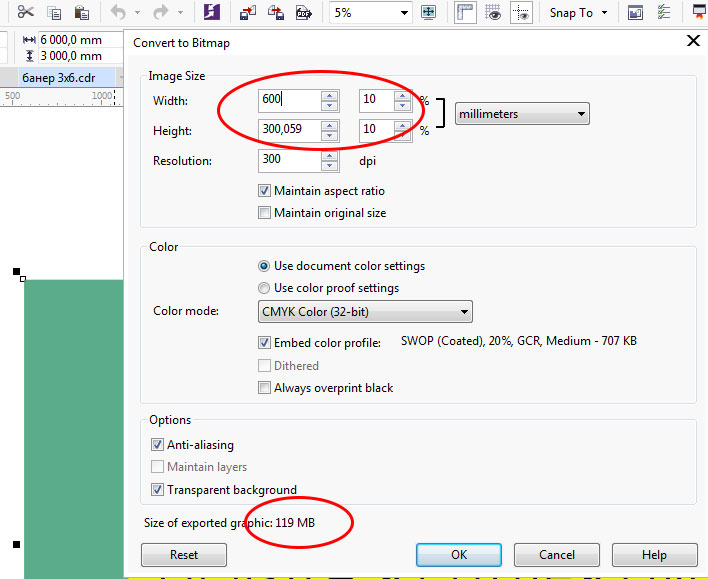 Corel Draw export settings